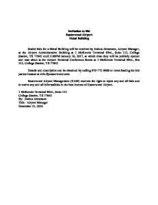 Invitation to Bid Easterwood Airport Metal Building