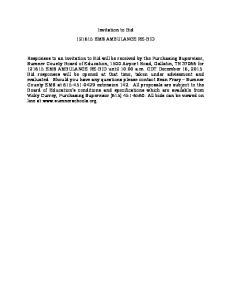 Invitation to Bid EMS AMBULANCE RE-BID