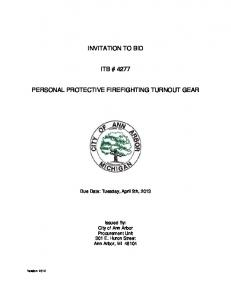 INVITATION TO BID ITB # 4277 PERSONAL PROTECTIVE FIREFIGHTING TURNOUT GEAR