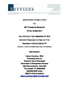 INVITATION TO BID ( ITB )
