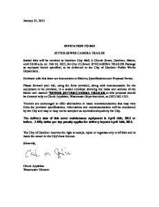 INVITATION TO BID JETTER-SEWER CAMERA TRAILER