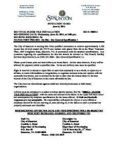 INVITATION TO BID June 6, 2014