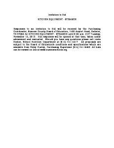 Invitation to Bid KITCHEN EQUIPMENT - STEAMER