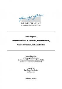 Ionic Liquids. Modern Methods of Synthesis, Polymerization, Characterization, and Application