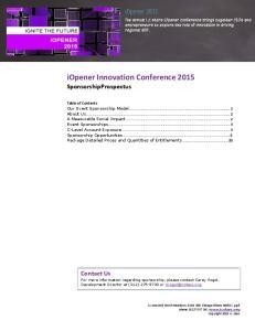 iopener Innovation Conference 2015 SponsorshipProspectus