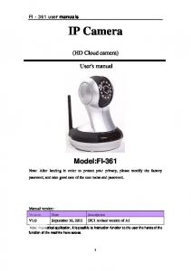IP Camera. (HD Cloud camera) User's manual
