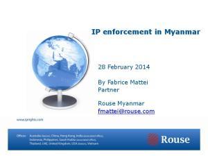 IP enforcement in Myanmar