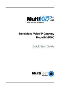 IP Gateway Model MVP200 Quick Start Guide