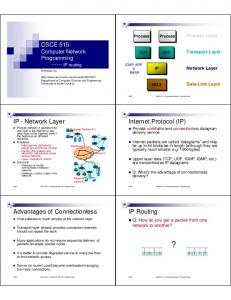 IP - Network Layer. Internet Protocol (IP) IP Routing. Advantages of Connectionless. CSCE515 Computer Network Programming
