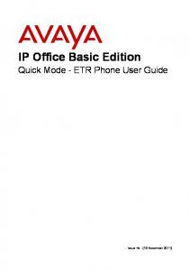 IP Office Basic Edition Quick Mode - ETR Phone User Guide