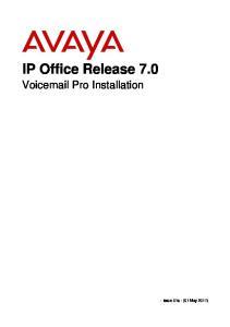 IP Office Release 7.0 Voic Pro Installation