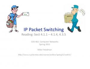 IP Packet Switching Reading: Sect , 4.3.5