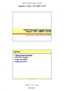 IP Standard Applications Telnet - FTP - SMTP - HTTP