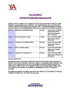IPC J-STD-001-D Certified IPC Application Specialist (CIS)