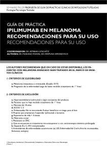 Ipilimumab en Melanoma Recomendaciones para su uso