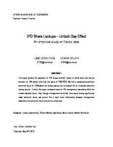 IPO Share Lockups Unlock Day Effect