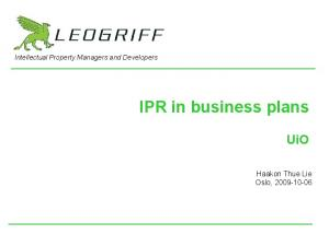 IPR in business plans