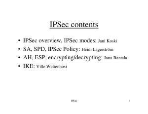 IPSec contents. IPSec 1
