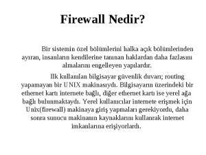 IpTables ve IpChains Ile Firewall. Mert ALTA