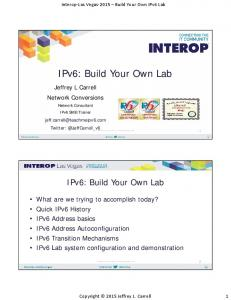 IPv6: Build Your Own Lab