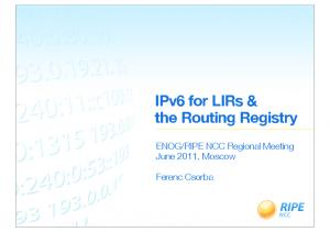 IPv6 for LIRs & the Routing Registry
