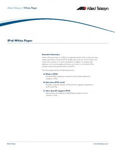 IPv6 White Paper. Allied Telesyn White Paper. Executive Summary