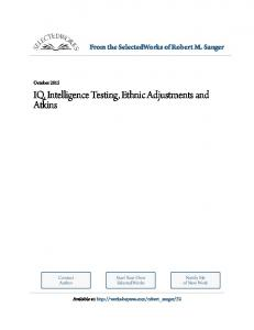 IQ, Intelligence Testing, Ethnic Adjustments and Atkins