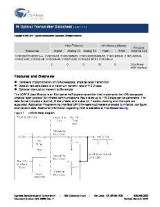 IR Optical Transmitter Datasheet IrDATX V 2.3. Features and Overview