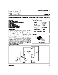 IR3310 PROGRAMMABLE CURRENT SENSING HIGH SIDE SWITCH