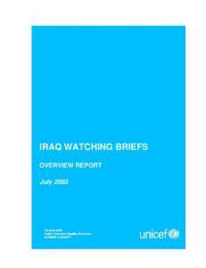 IRAQ WATCHING BRIEFS OVERVIEW REPORT