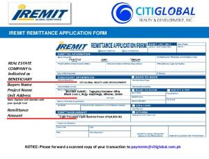 IREMIT REMITTANCE APPLICATION FORM