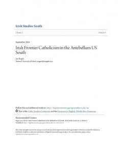 Irish Frontier Catholicism in the Antebellum US South