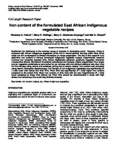 Iron content of the formulated East African indigenous vegetable recipes
