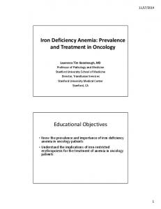 Iron Deficiency Anemia: Prevalence and Treatment in Oncology