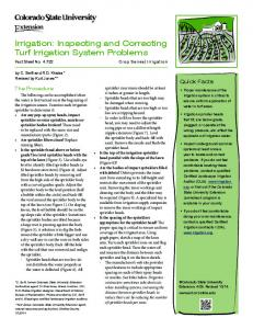 Irrigation: Inspecting and Correcting Turf Irrigation System Problems