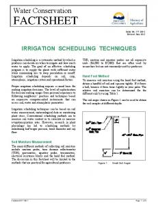 IRRIGATION SCHEDULING TECHNIQUES