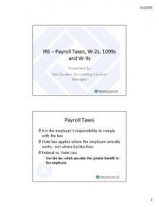 IRS Payroll Taxes, W-2s, 1099s and W-9s. Payroll Taxes