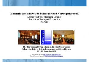 Is benefit-cost analysis to blame for bad Norwegian roads?