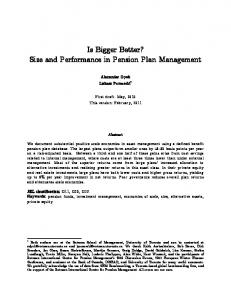 Is Bigger Better? Size and Performance in Pension Plan Management