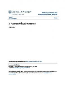 Is Business Ethics Necessary?