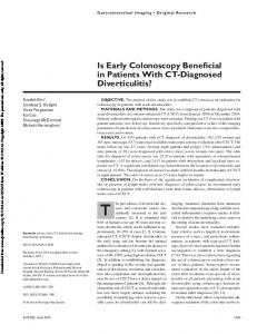 Is Early Colonoscopy Beneficial in Patients With CT-Diagnosed Diverticulitis?