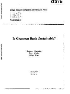 Is Grameen Bank Sustainable?