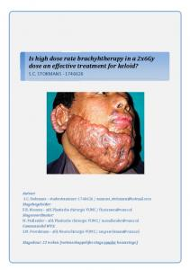 Is high dose rate brachyhtherapy in a 2x6Gy dose an effective treatment for keloid?