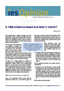 Is HRM evidence-based and does it matter?