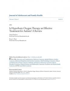 Is Hyperbaric Oxygen Therapy an Effective Treatment for Autism? A Review