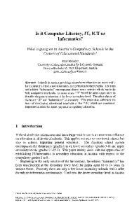 Is it Computer Literacy, IT, ICT or Informatics?