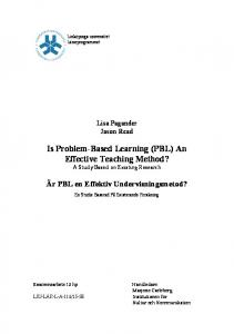 Is Problem-Based Learning (PBL) An Effective Teaching Method? A Study Based on Existing Research