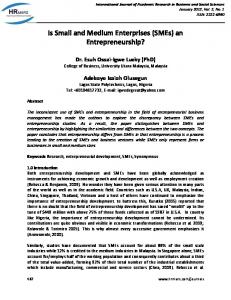 Is Small and Medium Enterprises (SMEs) an Entrepreneurship?