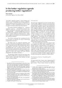 Is the better regulation agenda producing better regulation?