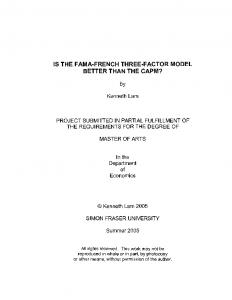 IS THE FAMA-FRENCH THREE-FACTOR MODEL BETTER THAN THE CAPM?